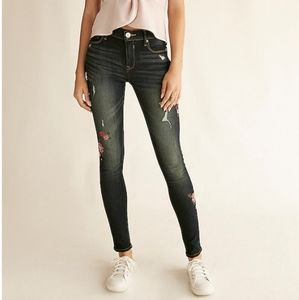Express Jeans Mid-rise legging floral embroidery